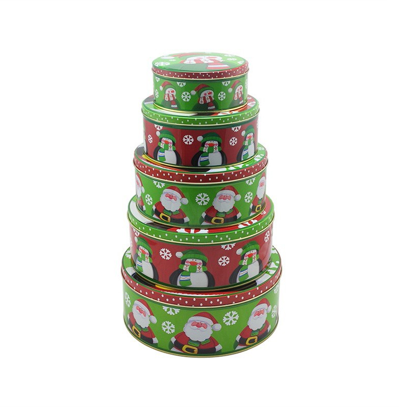 Round Tin Box Set For Christmas