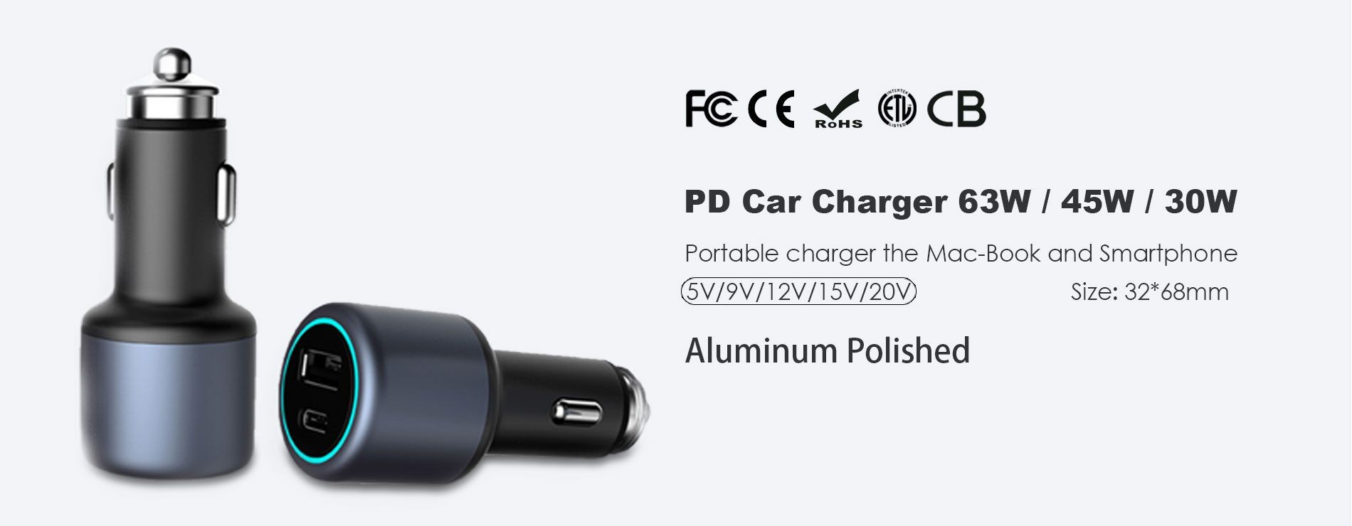 PD car charger 63W/45W/30W