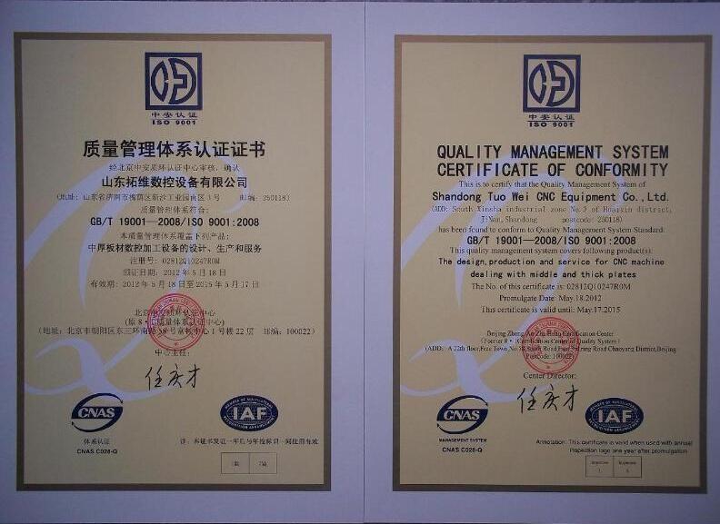 ISO certificate - CNC Punching Machine