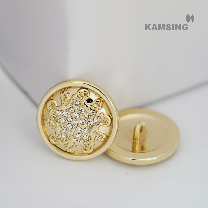 Shiny Rhinestones Alloy Shank Button