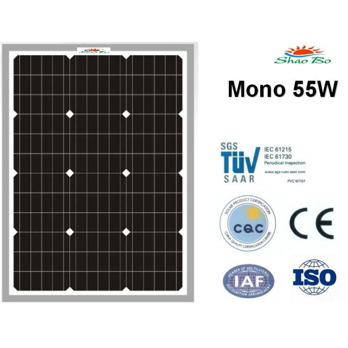 High quality crystalline silicon solar  55W Mono Solar Module Quotes,China silicon solar55W Mono Solar Module Factory,good quality 55W Mono Solar Module Purchasing
