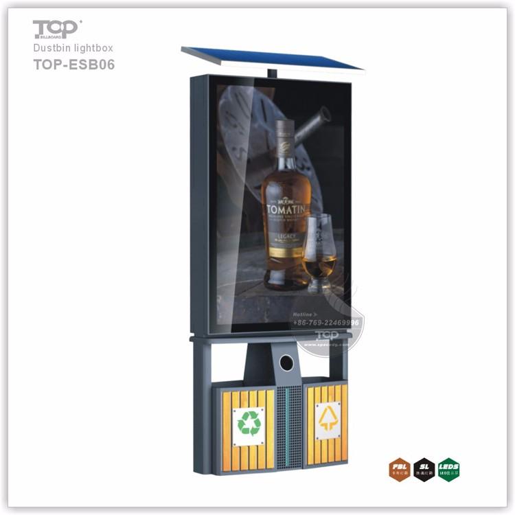Light Box Ads Billboard with Durable Trash Bin