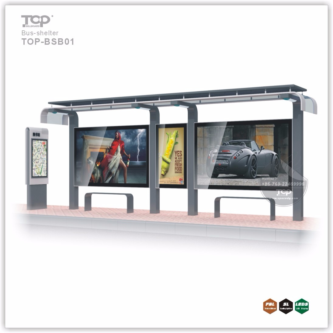 Durable Street Furniture Solar Power Advertising Bus Stop