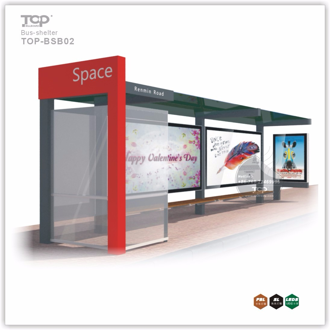 Fine & Comfortable Design City Bus Shelter