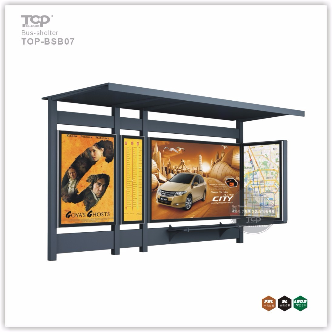Modern Design Bus Stop Shelter with Scrolling Light Box