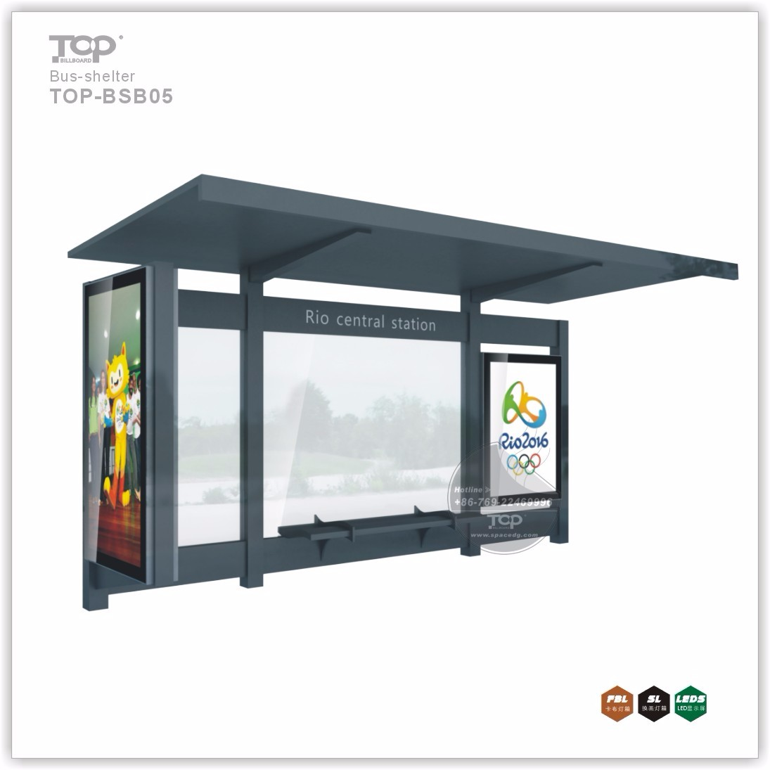 Bus Stop Advertising Shelters Design with LED Light Boxes