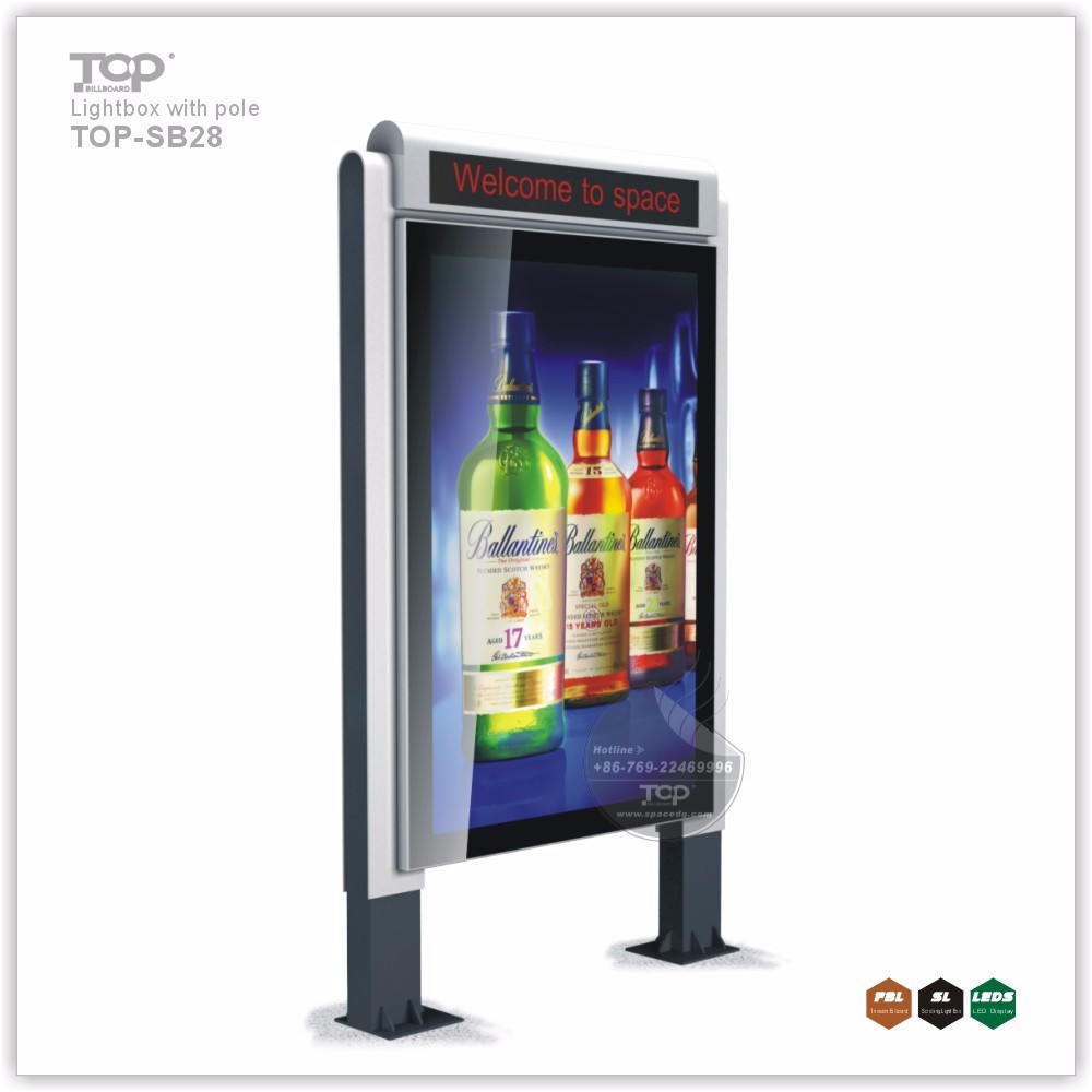 Advertising Scrolling LED Light Box with Two Poles