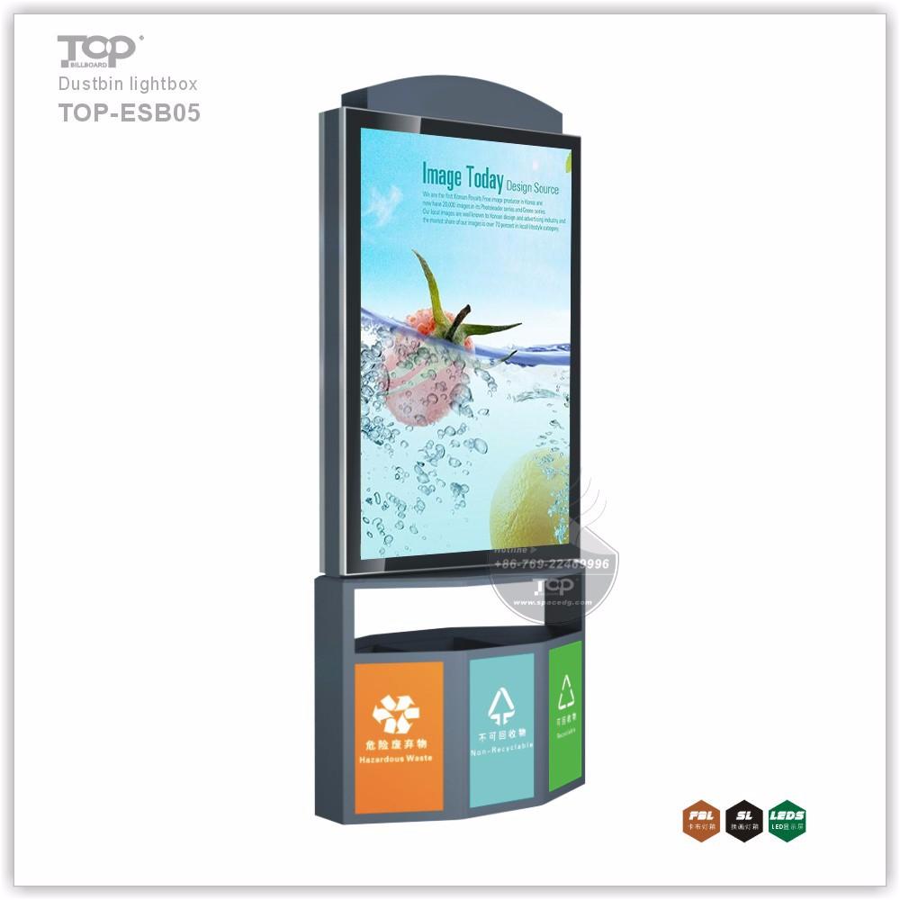 Outdoor Solar Advertising Metal Dustbin Light Box