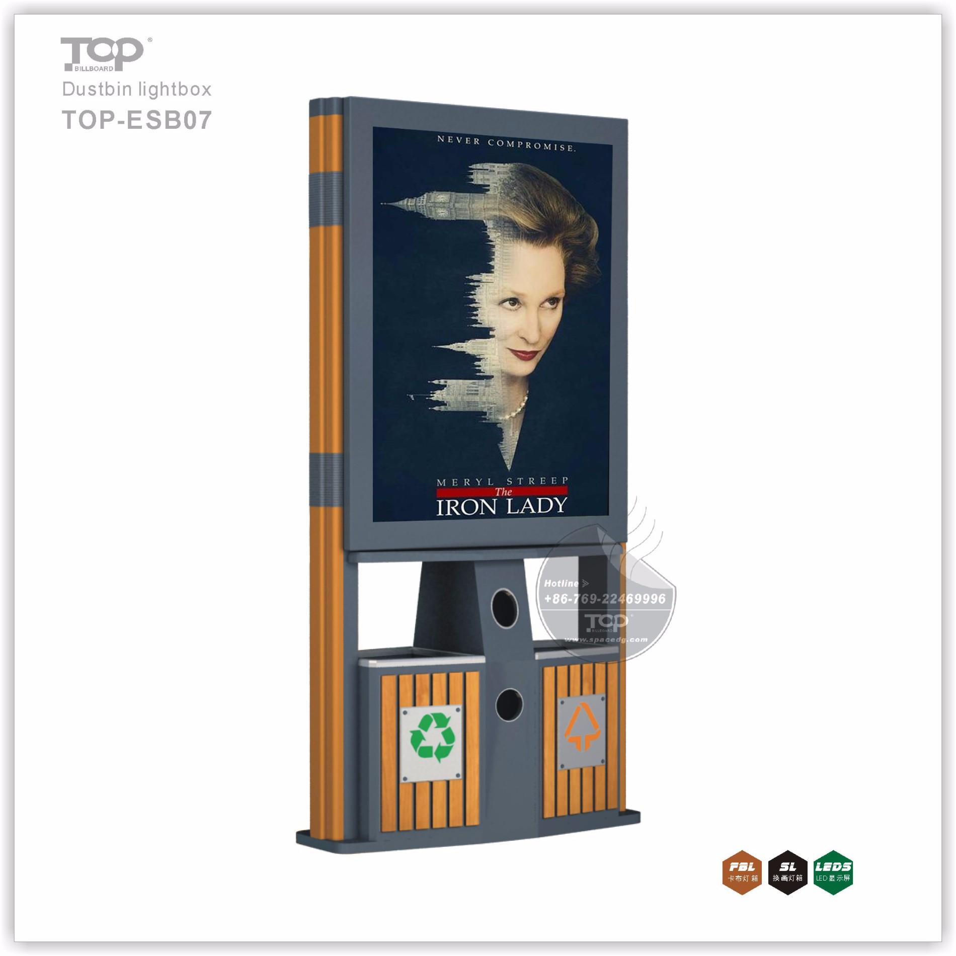Modern Design Metal Lightbox with Dustbin
