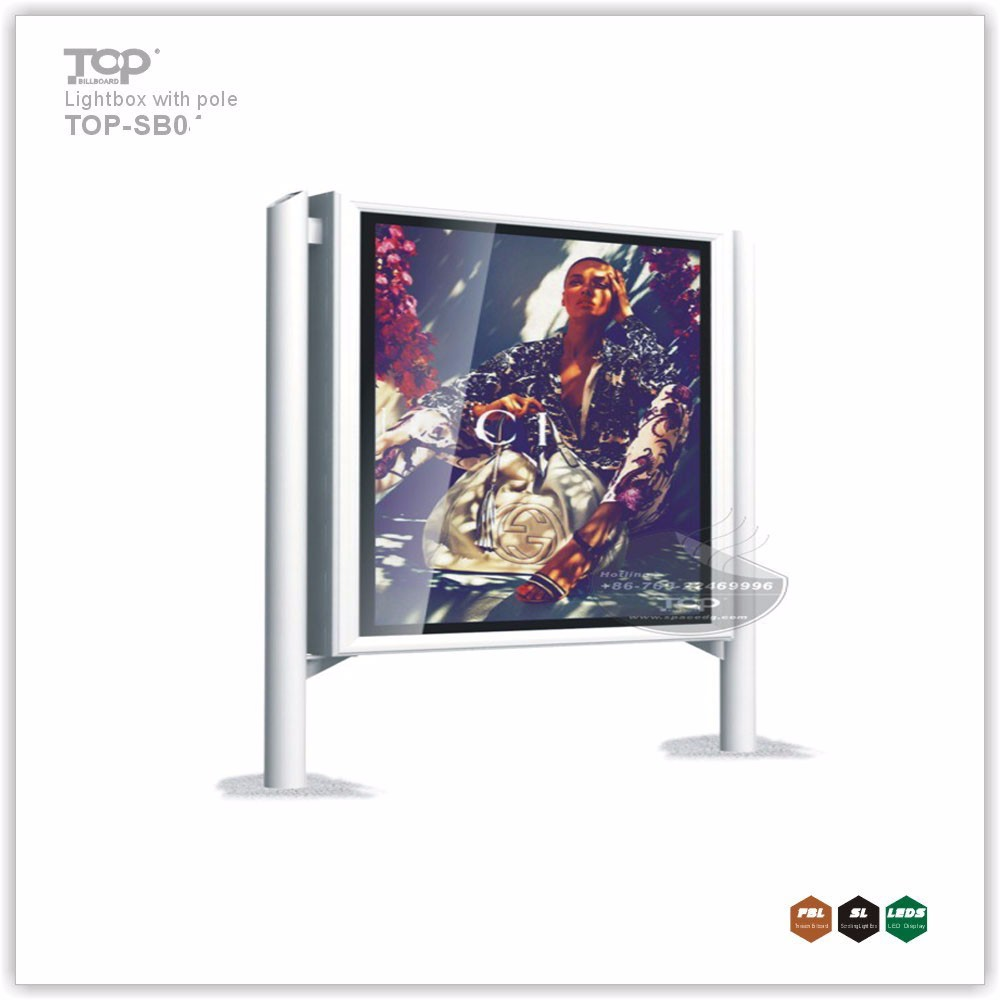 China Waterproof Advertising Two Poles LED Light Box