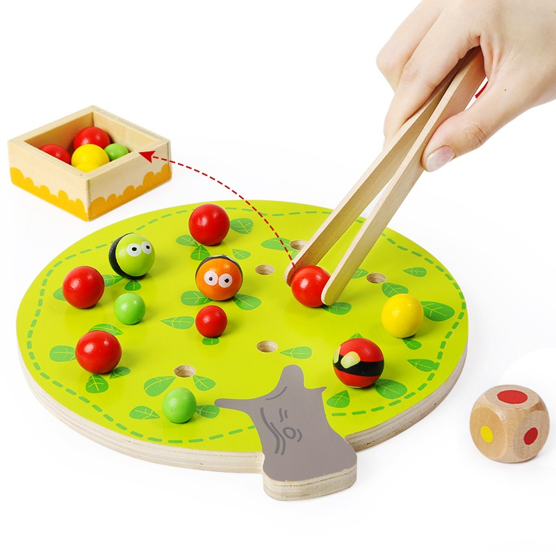 Topbright Montessori Child Wooden Apple Picking Tree Toy Game