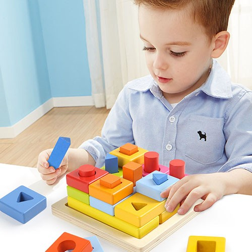 Topbright Wooden Math Shape Blocks Stacking Toy