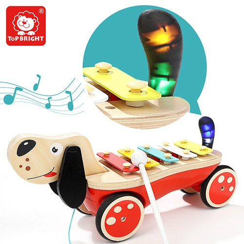 Topbright Wood Puppy Pull And Xylophone Musical Instruments Toys