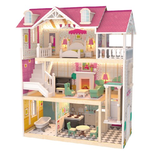 Topbright Pretend Play Lighted Wooden Doll House Toy