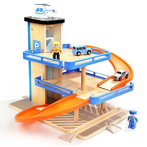 Topbright Pretend Play Wooden Parking Lot Garage Toy