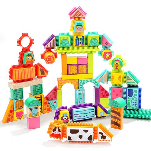 Topbright Bristle Farm Wooden Blocks Sets Toy