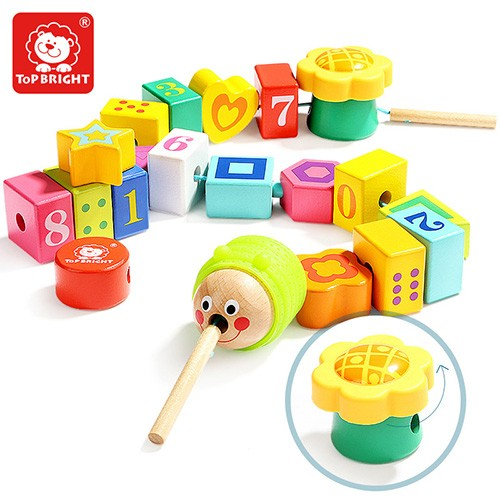 Topbright Caterpillar Lacing String Wood Alphabet Blocks Toy