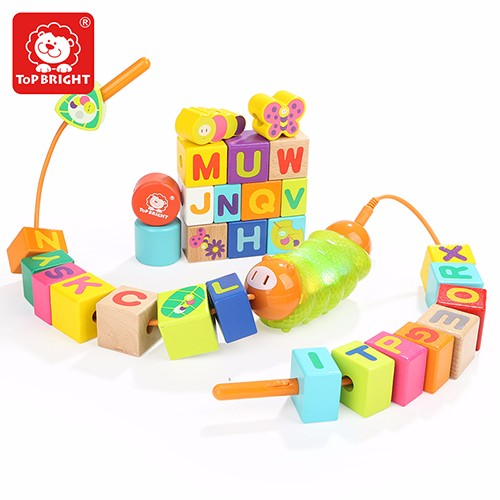Topbright Sensory Toy Caterpillar Musical Alphabet Blocks Lacing Beads