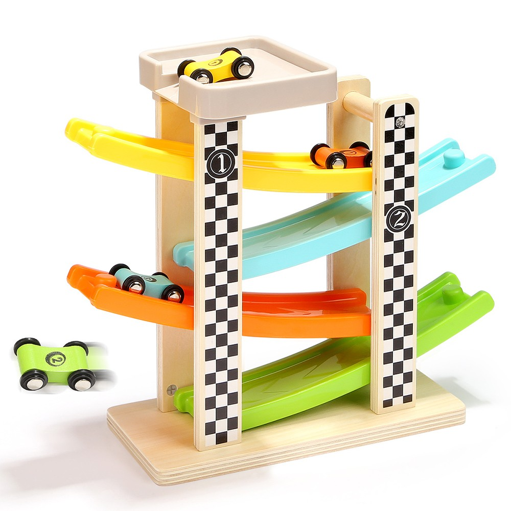 Topbright Wooden Racing Track Toy Set For Kids