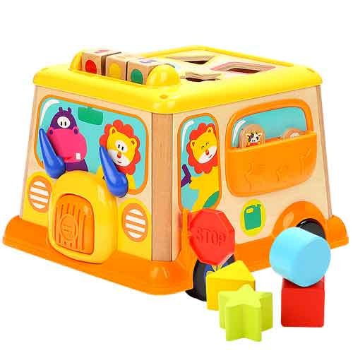 Topbright Educational Wooden Shape Sorting School Bus Toy