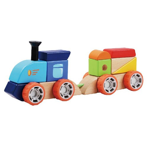 Topbright Wooden Building Blocks Stacking Train Set