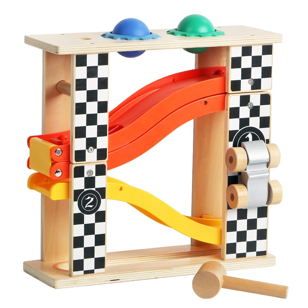 Topbright Colorful 2 IN 1 Wooden Hammer Pounding Tower Toy