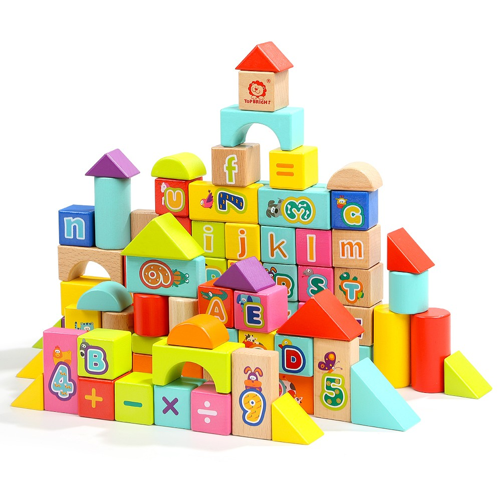 Topbright Alphabet Wooden Building Blocks Toy