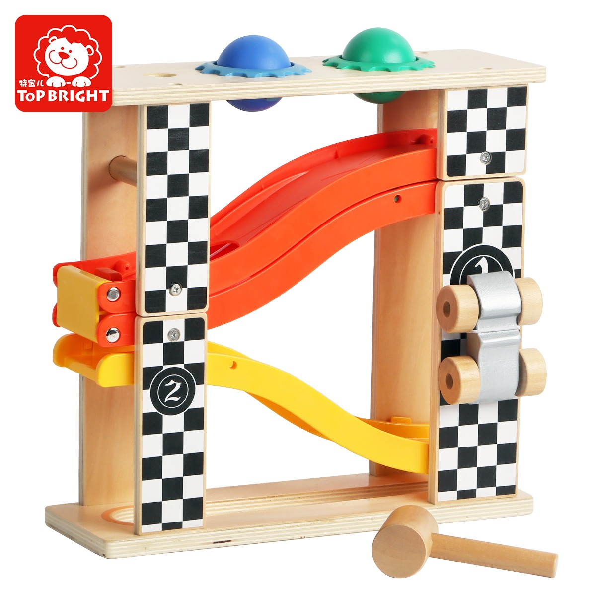 Topbright Pound and Roll Tower wooden toys for 1 2 year old boy gift with hammer and 2 balls