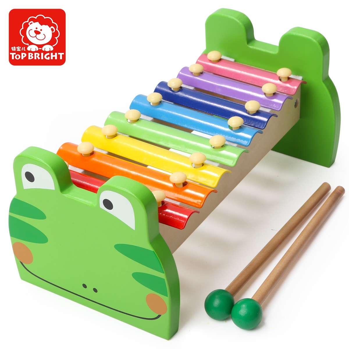 Top bright wooden frog musical xylophone toy