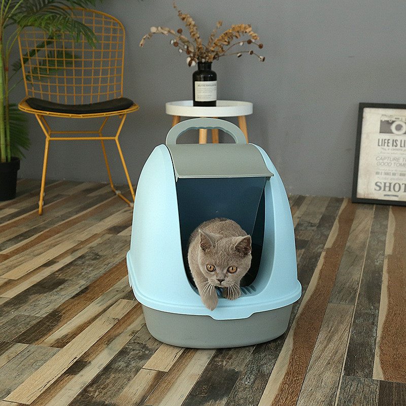 Manufacturer wholesale large hooded cat toilet cat litter box