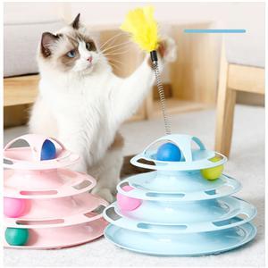 정신 신체 운동 고양이와 새끼 고양이를위한 상호 작용하는 고양이 장난감 트랙의 타워 고양이 장난감