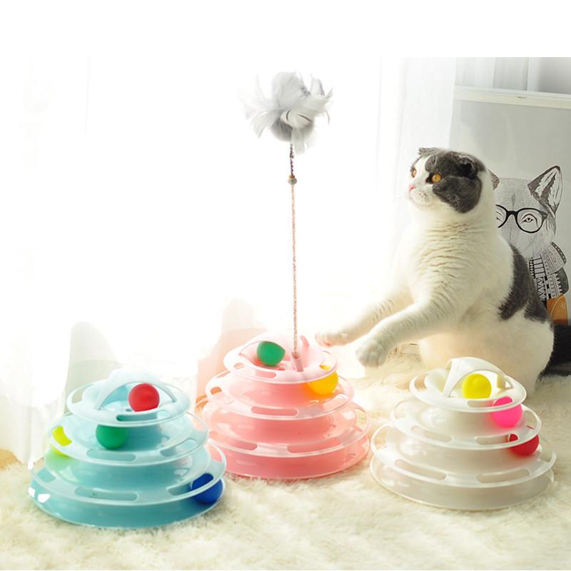 고양이 장난감 상호 작용하는 고양이 공 장난감 4 층 고양이 트랙 타워 장난감