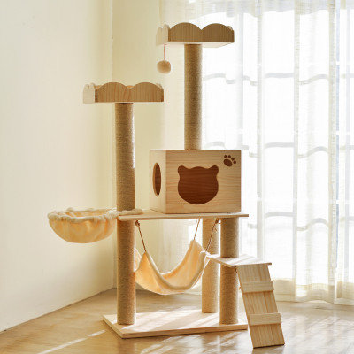 Factory wholesale wood cat tree house wooden cat tower