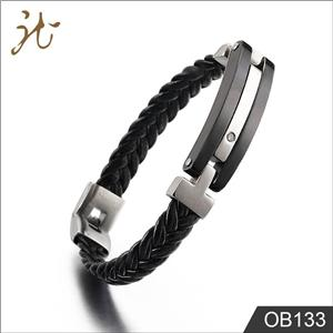 Leather weaving cable bracelet