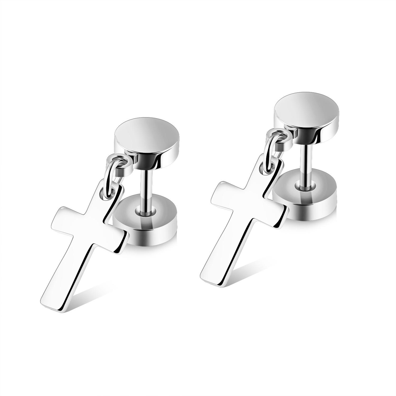 Trendy cross clip on earrings