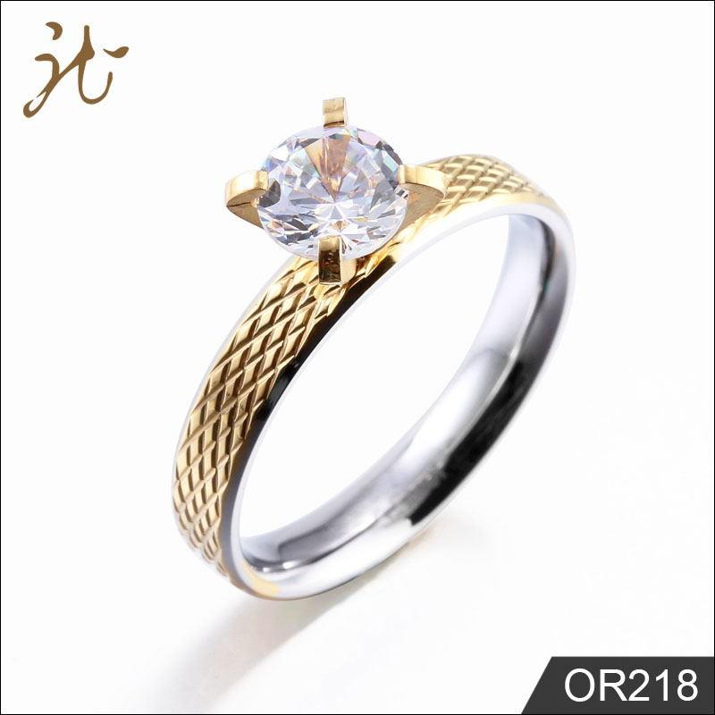 Diamond stainless steel women's rings