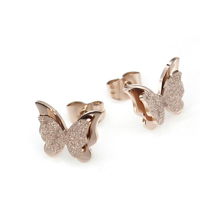 Butterfly ball stud earring