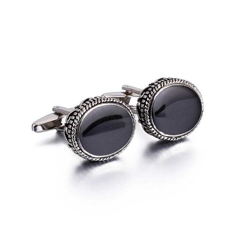 Black button cufflink