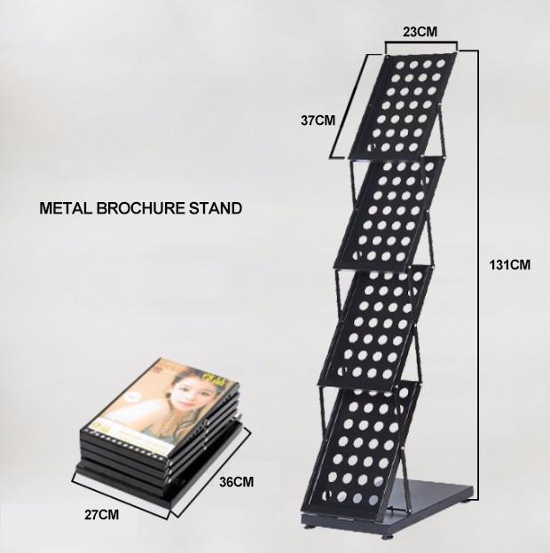 Portable Brochure Holder, Flyer Alloy Holder, Book Metal Frame