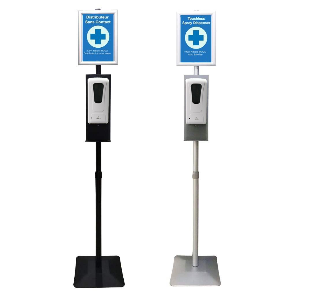 sanitizer dispenser station with poster frame