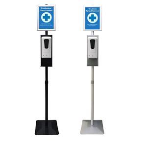 sanitizer dispenser station with poster frame