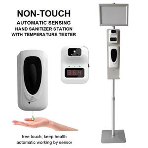 sanitizer dispenser station with poster frame temperature scanner
