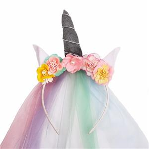 Charming Colorful Mesh Unicorn Headband Cat Ear Headband With Artificial Flower Manufacturers, Charming Colorful Mesh Unicorn Headband Cat Ear Headband With Artificial Flower Factory, Charming Colorful Mesh Unicorn Headband Cat Ear Headband With Artificial Flower