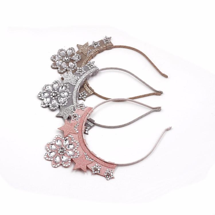 Charming Girls Crown Headband Glitter Star Metal Headband Crystal Headband