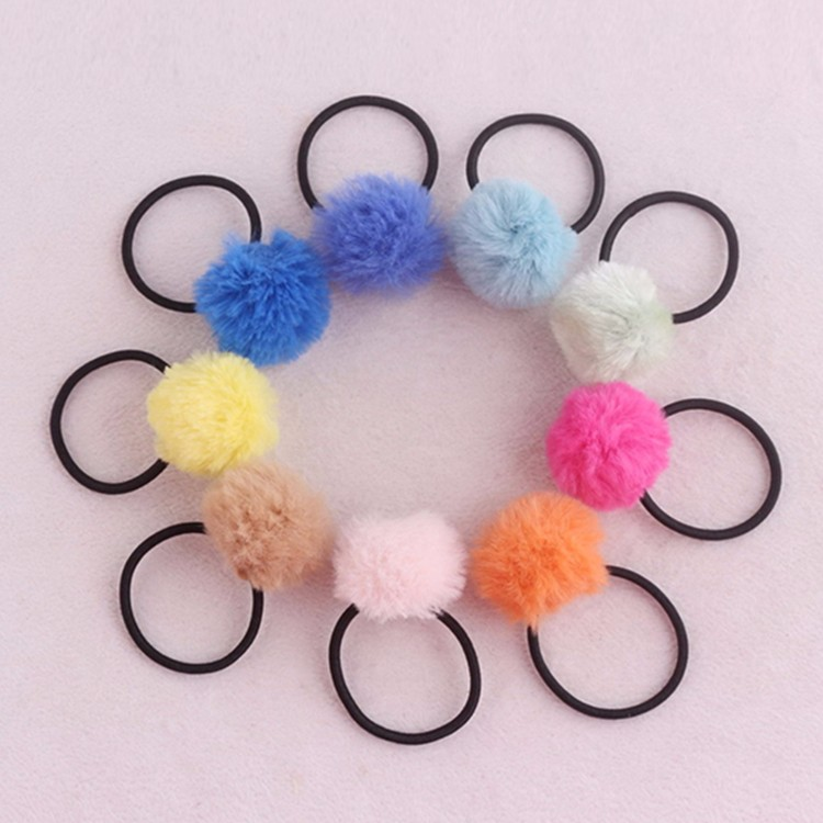 Hot Selling Pompom Hair Tie Girls Furry Hair Tie