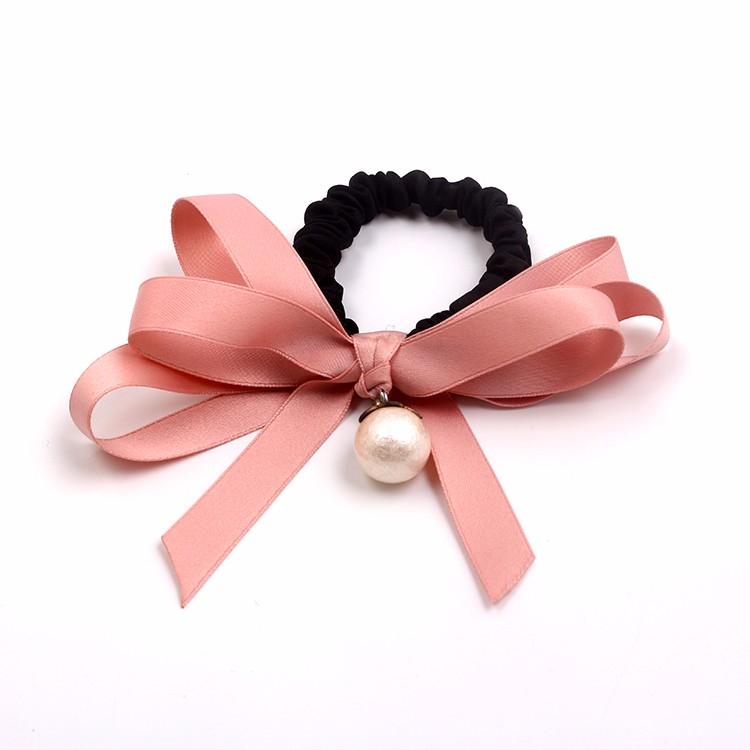Girls Fashion Satin Bow Hair Tie Elastic Ribbon Hair Tie With Pearls