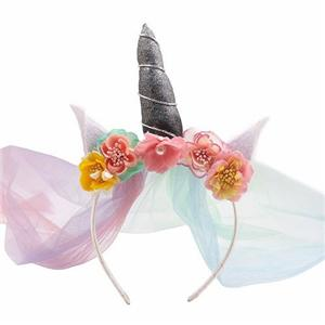 Charming Colorful Mesh Unicorn Headband Cat Ear Headband With Artificial Flower