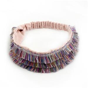 Beauty Lilac Tassels Women Headwrap Fashion Wrap Around Headband