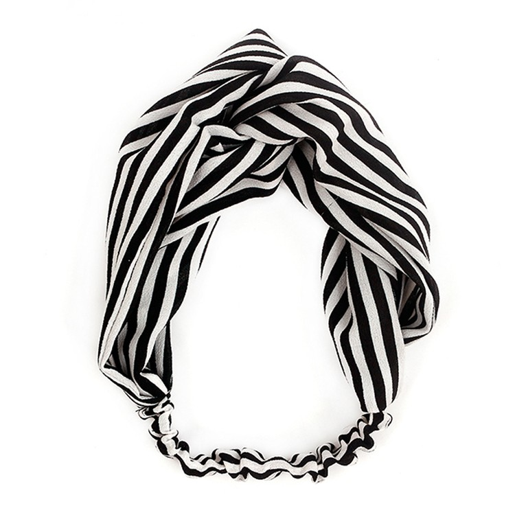 Soft Cotton Fabric Black And White Stripe Headband Women Turban Headband Manufacturers, Soft Cotton Fabric Black And White Stripe Headband Women Turban Headband Factory, Soft Cotton Fabric Black And White Stripe Headband Women Turban Headband