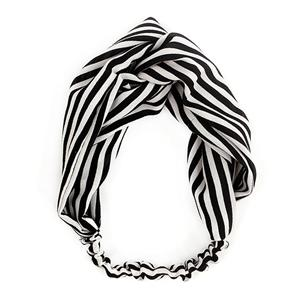 Soft Cotton Fabric Black And White Stripe Headband Women Turban Headband
